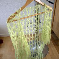 Til salg: Limegrønt sjal med hulmønster