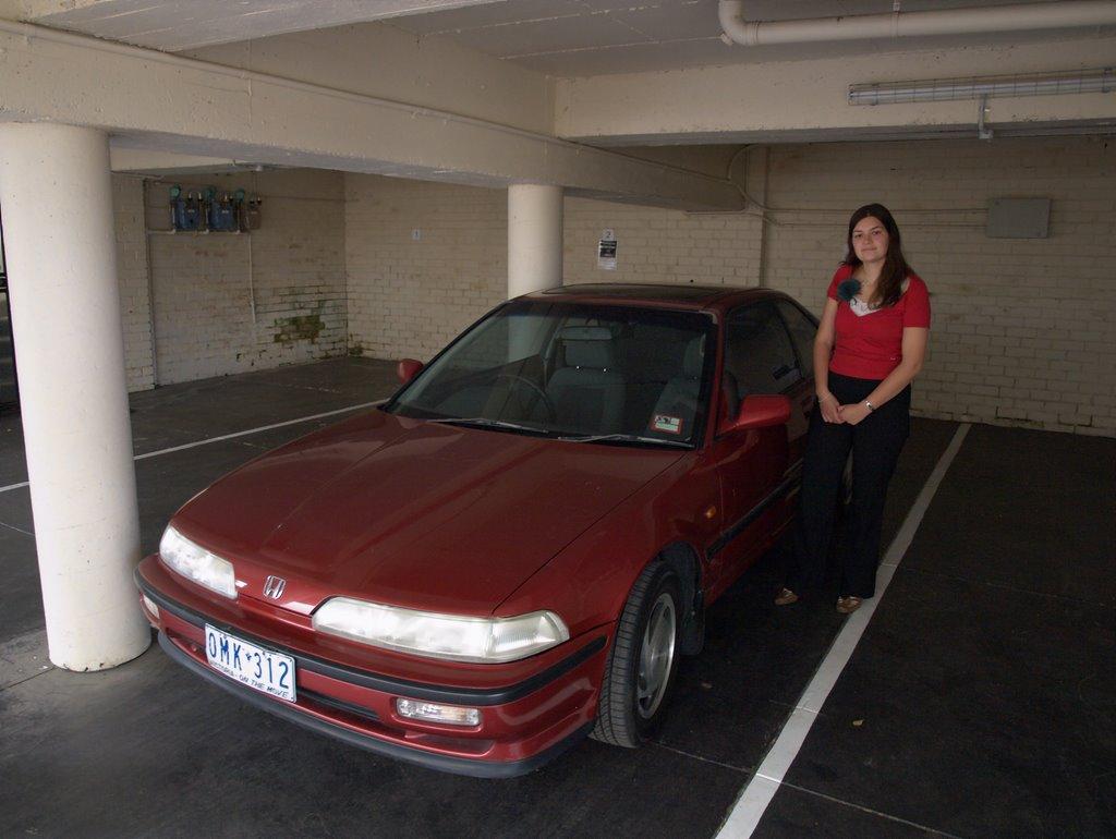 Vores bil i Melbourne, en Honda Integra fra 1990.