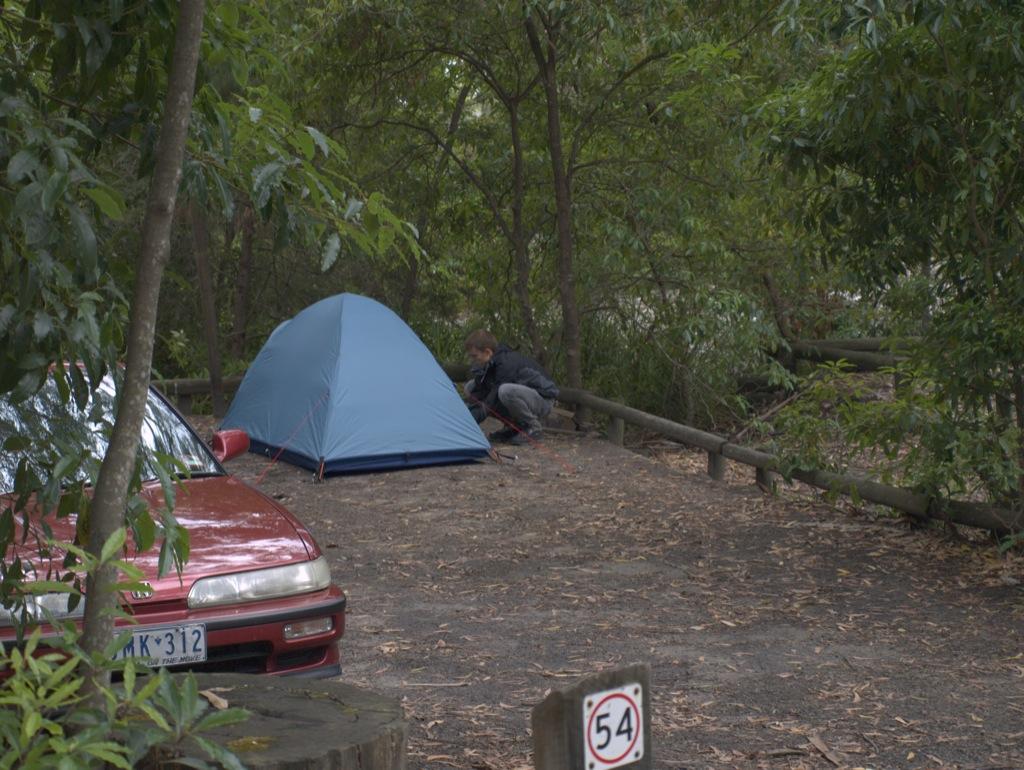 Vores teltplads i Booderee National Park.