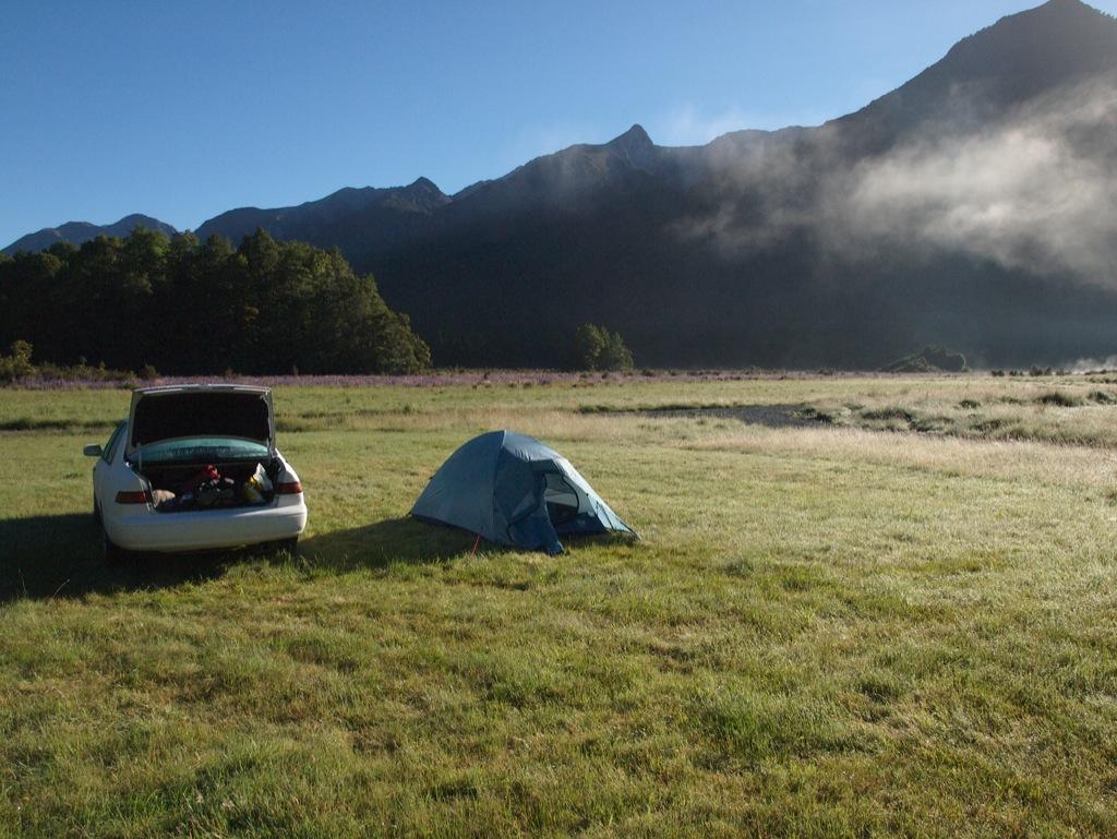 Overnatning ved Deer Flat, morgenen efter.