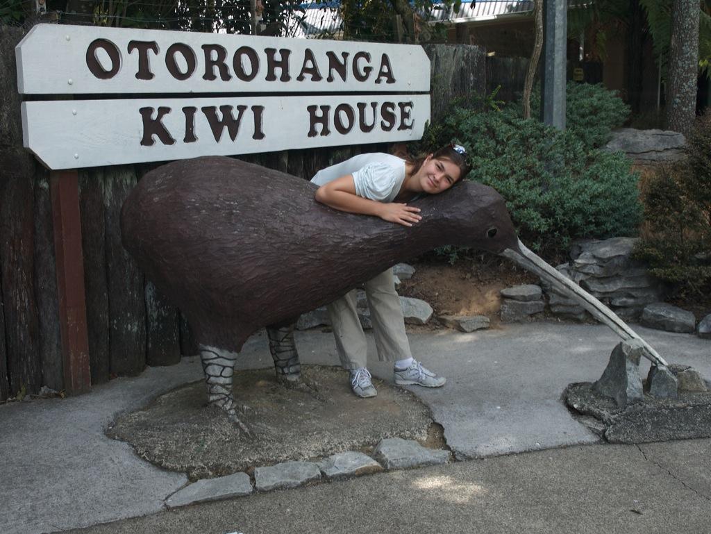 Mig ved kiwihuset i Otorohanga.