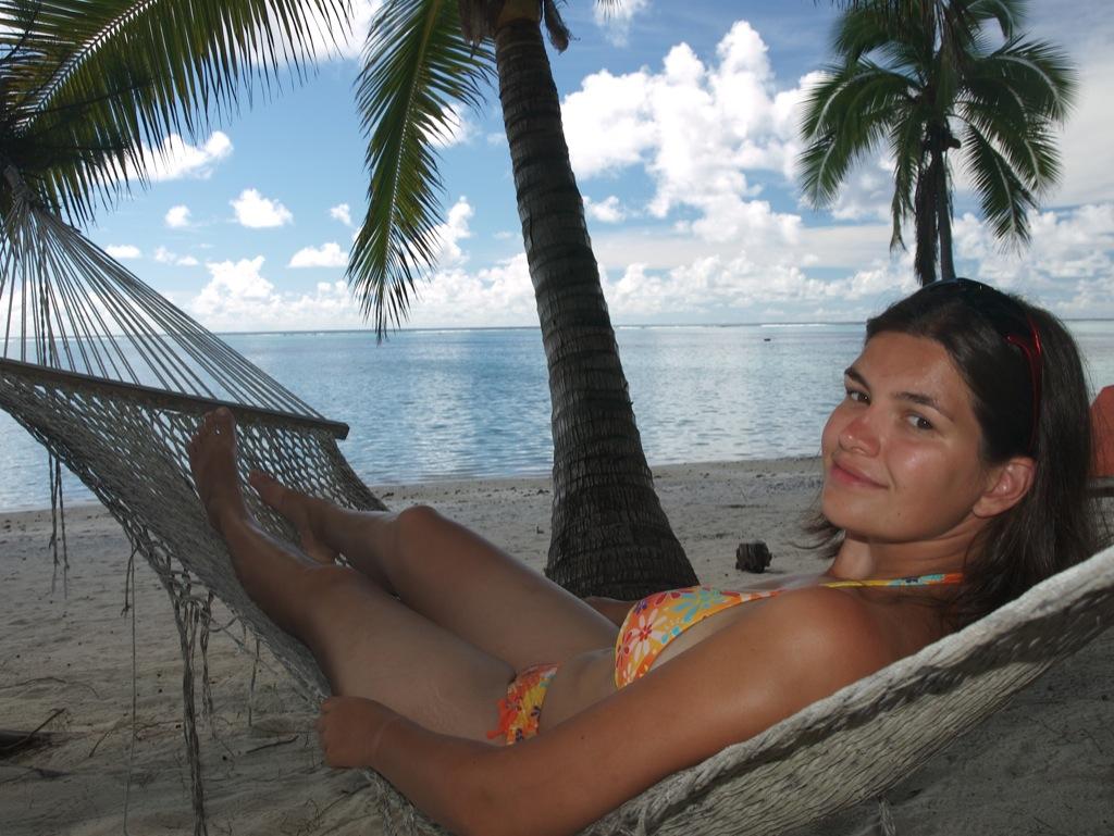 Mig i hængekøjen på Aitutaki.