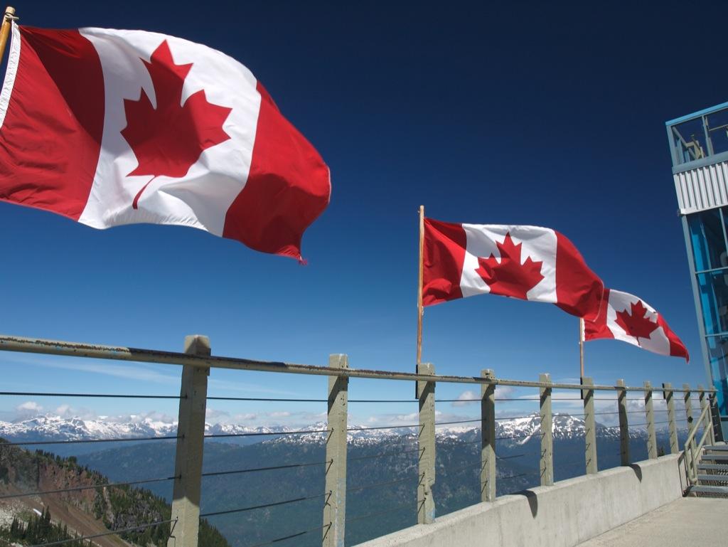 Canadiske flag på Whistler.