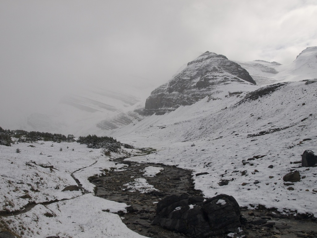 Sikke en snestorm, der pludselig kom, da vi kom op til dalen.