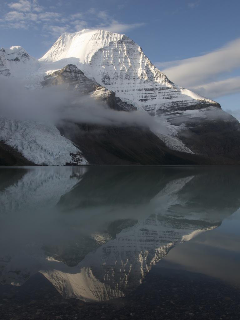 Morgenbillede af Mount Robson - toppen af endelig ses her fra.