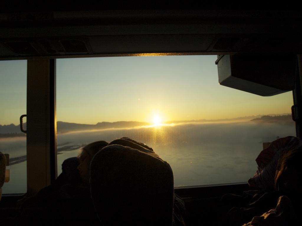 Taget inde fra bussen på vej tilbage til Vancouver.