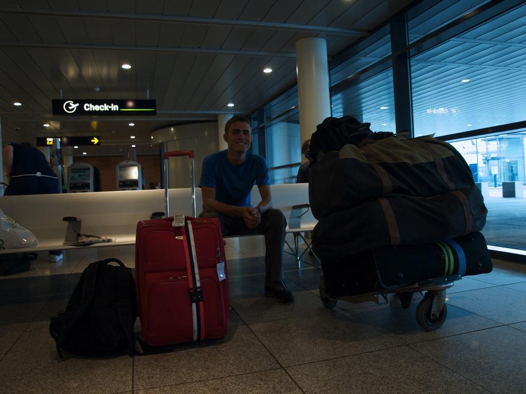 Et billede med alt baggagen (samme opstilling, som da vi tog afsted), nu hjemvendt til Danmark; Købenshavns Lufthanvn.
