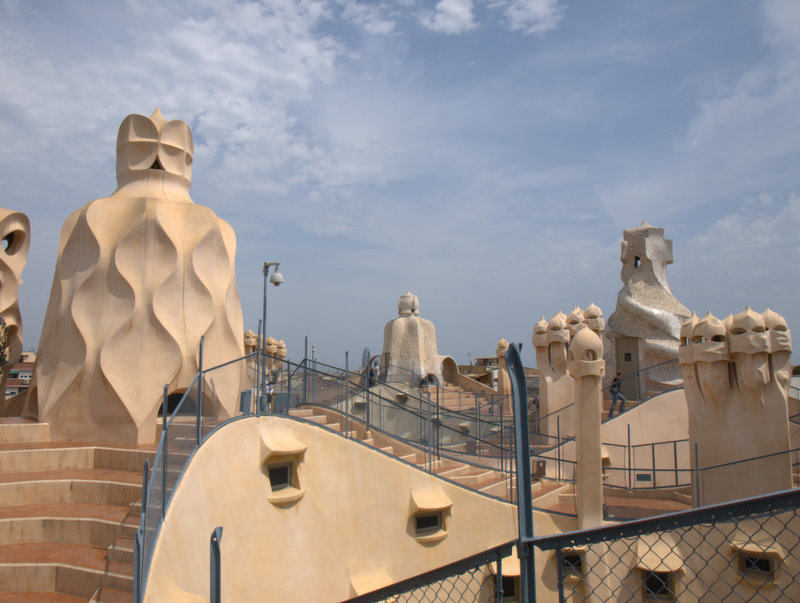 Så er jeg oppe på taget af Casa Mila.