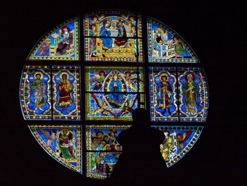 Glasmaleri i domkirken i Siena.