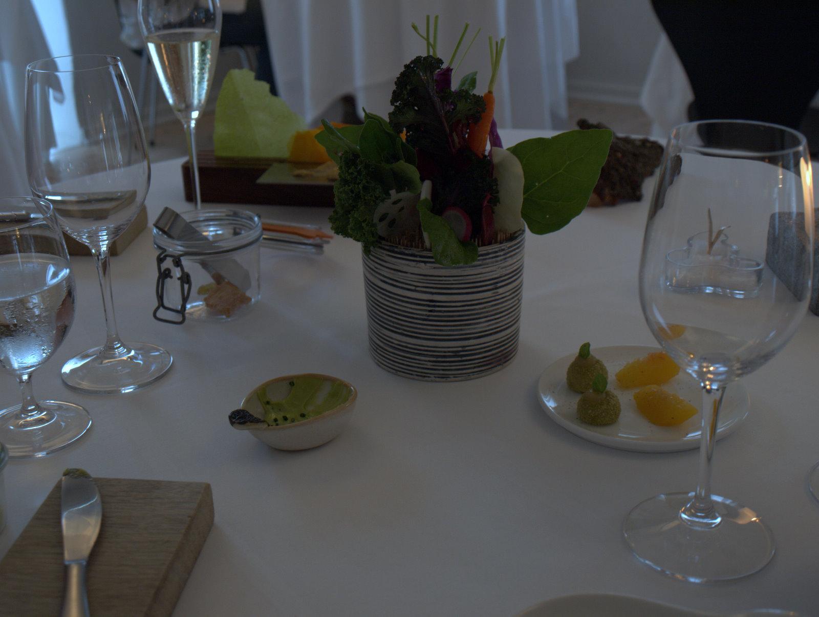 Snack - del 3 - urtehave, frugter og grøntsagschips med multebærdip.