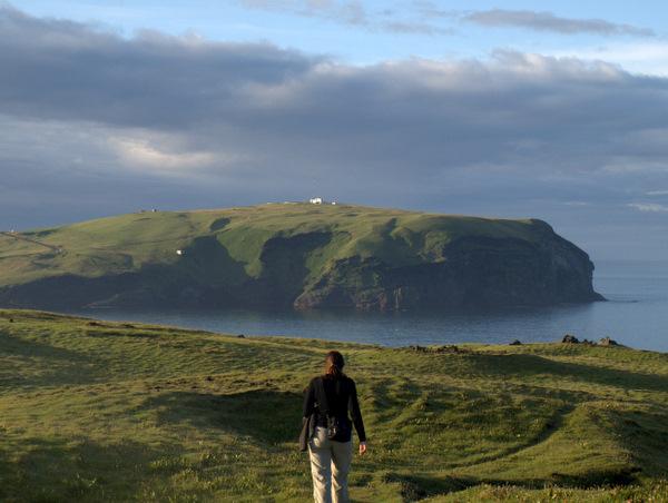 Fin udsigt fra Heimaey, hvor man kan se de andre småøer.