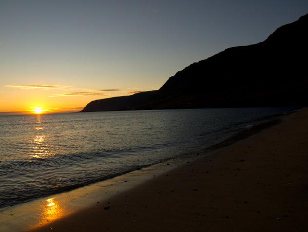 Solnedgang ved Talknafjödur