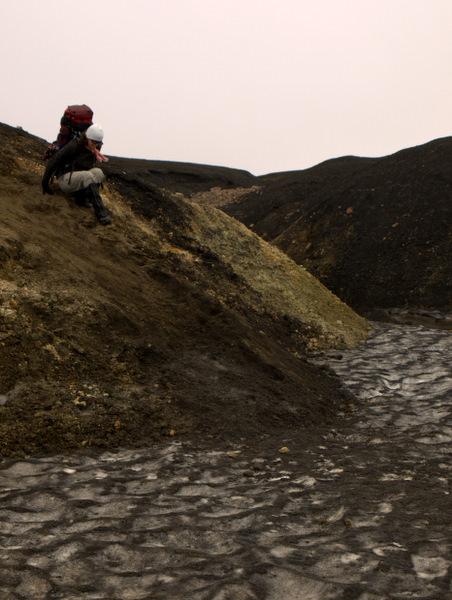 Der var mange udfordringer på vandreturen, f.eks. de stejle strækninger, som fører lidt ned til is.