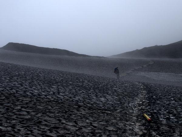 Sidste billede fra selve vandreturen for den første dag. Det er blevet tåget, da vi nu er oppe i 1100 meters højde.