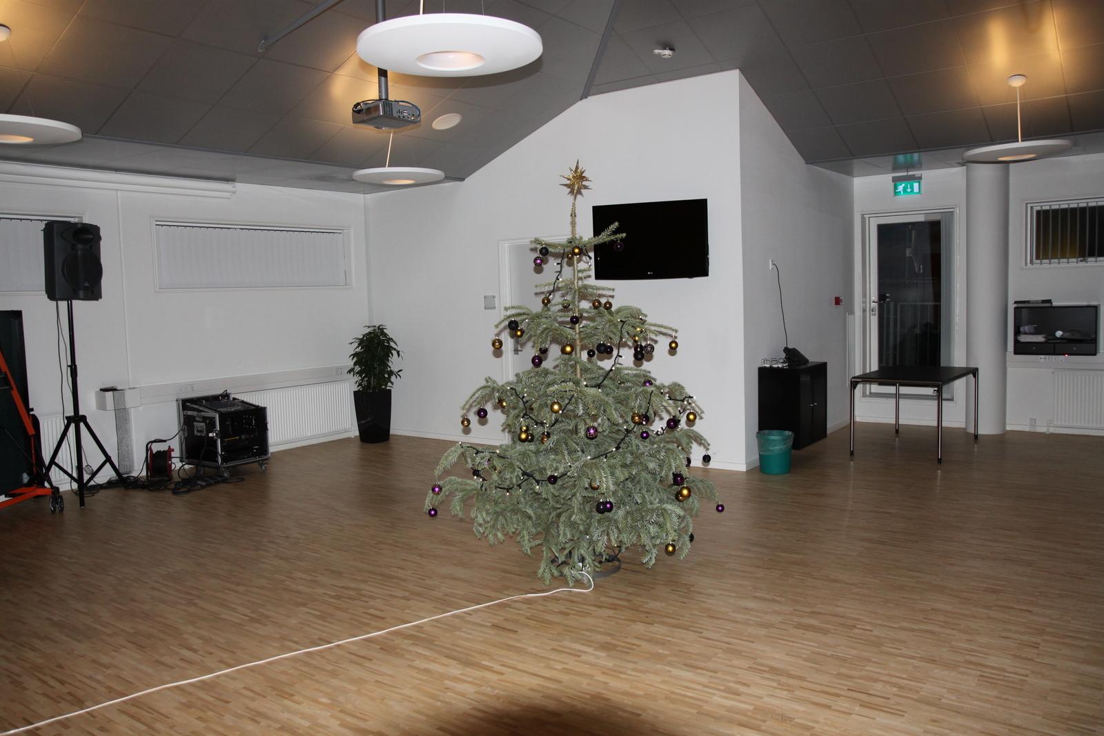 Juletræet fra receptionen er flyttet op på 3.sal - det er efterhånden ret tørt