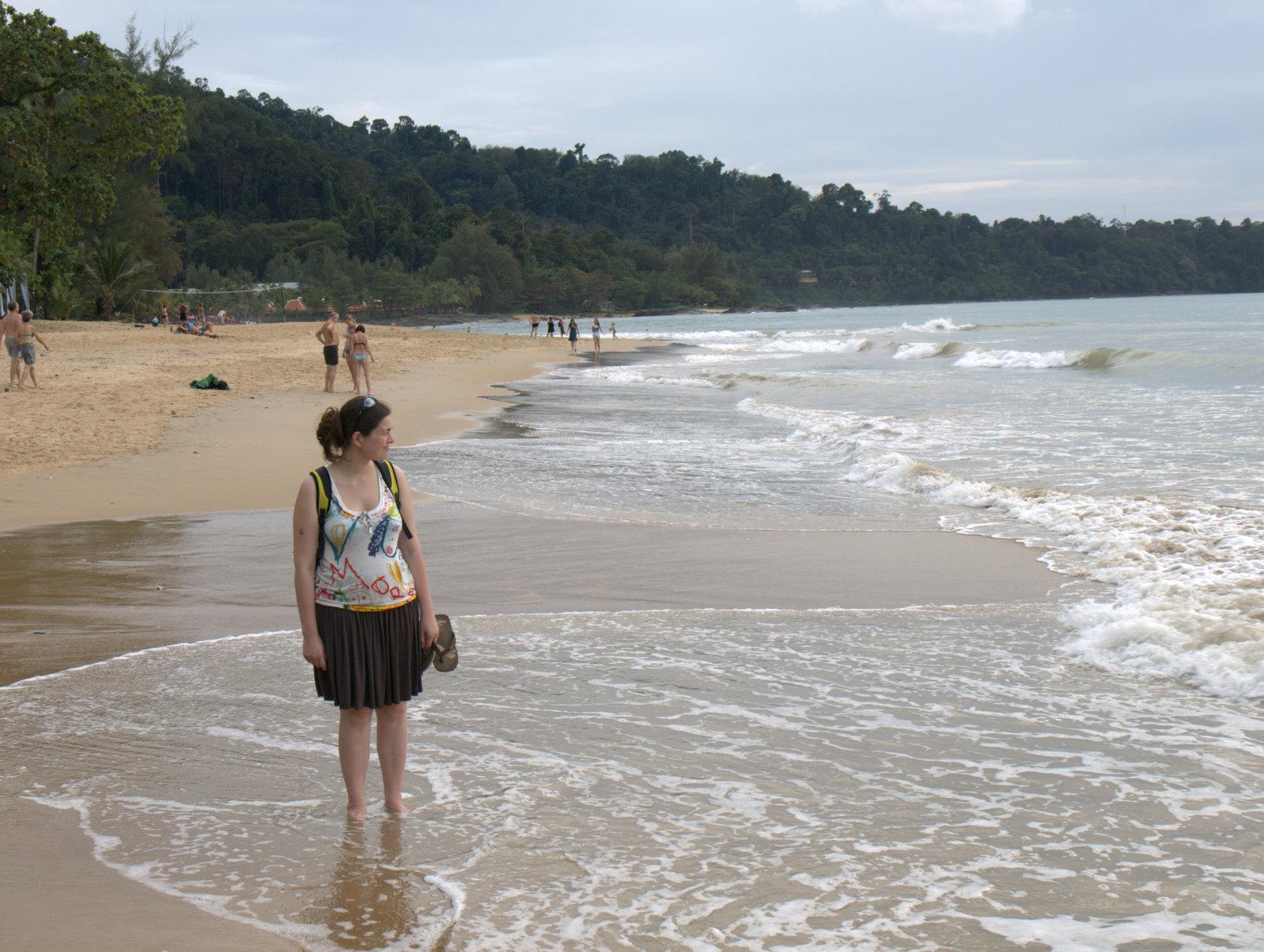 Stranden, vi kan se fra vores hytte - ikke så fin hvid